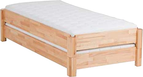 Dico 2 apilables cama Madera Maciza con somier enrollable tamaño 90 x 200 cm, madera, 01 Kernbuche geölt