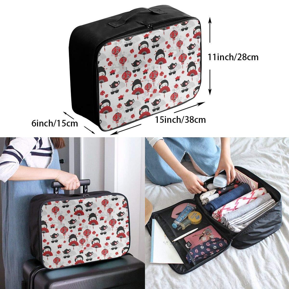 ADGAI Geisha with Japanese Fan Canvas Travel Weekender Bag,Fashion Custom Lightweight Large Capacity Portable Luggage Bag,Suitcase Trolley Bag