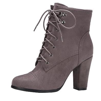 AIYOUMEI Damen Blockabsatz High Heels Stiefeletten mit Schnürung und Reißverschluss Ankle Boots t0tahdG