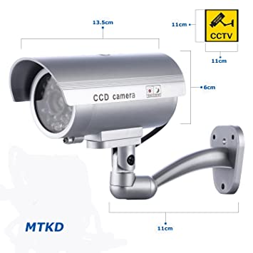 MTKD Cámara Simulada Falsa Inalámbrica e Impermeable. Sistema de Vigilancia Camara Simulada con IR LED