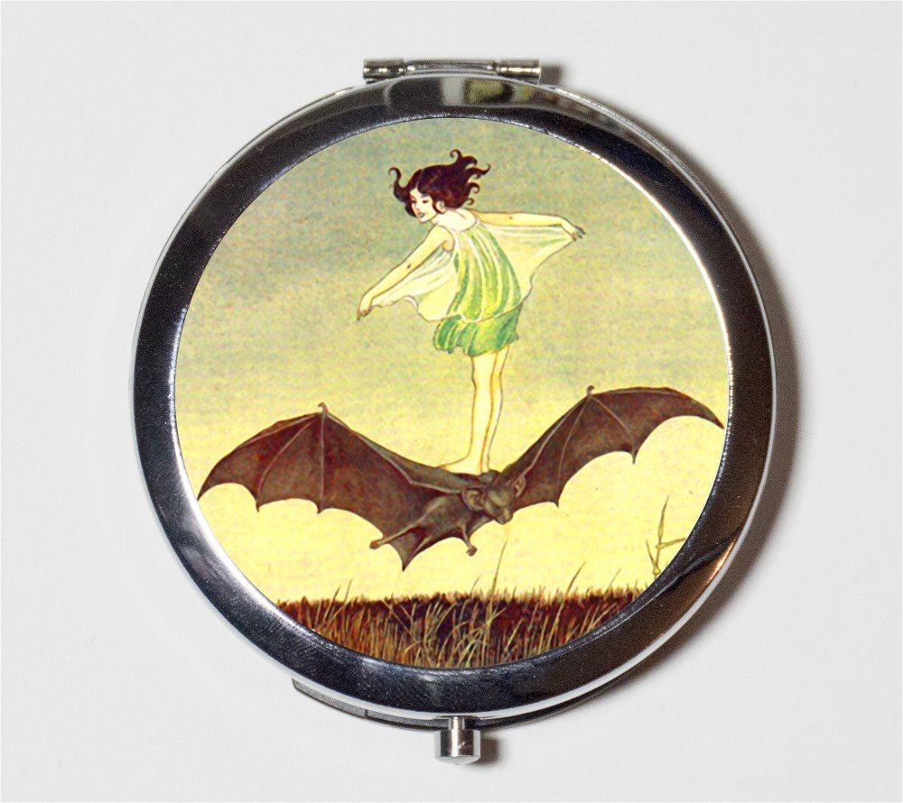 Girl Riding Bat Compact Mirror Bat Rider Fairytale Goth Storybook Illustration Make Up Pocket Mirror for Cosmetics