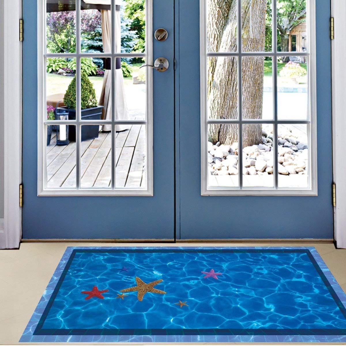 Amazon.com : iwallsticker Removable Creative 3D Blue Floor ...