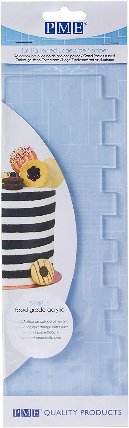 PME Tall Patterned Edge Side Scraper for Cake Decorating-Stripes Acrylic 10, Transparent