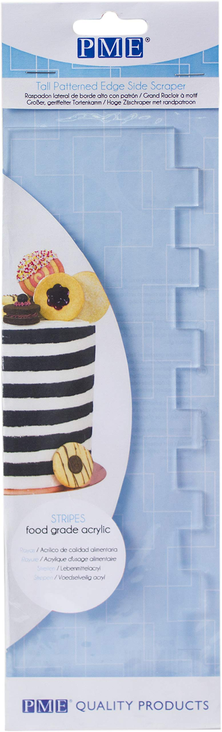 PME PS61 Tall Patterned Edge Side Scraper for Cake Decorating-Stripes, 10 in in, Transparent