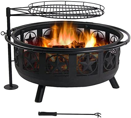 Amazon Com Sunnydaze Large All Star Fire Pit Bowl Black Steel Wood Burning Firepit Portable Bbq Cooking Grate And Spark Screen 30 Inch Easy To Assemble Outdoor Patio