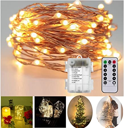 OxyLED Outdoor Garden String Lights,33ft 100 LED Battery Operated Fairy String Lights,Waterproof Indoor//Outdoor String Lights,8 Modes Remote Control Lights For Home,Patio,Wedding,Party,Christmas