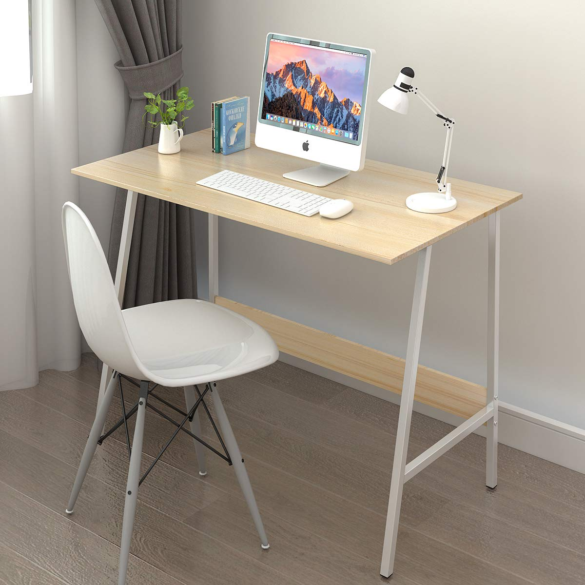 WLIVE Computer Writing Desk, Study Desk Notebook Desk with Durable Wood and Metal Frame for Home Office