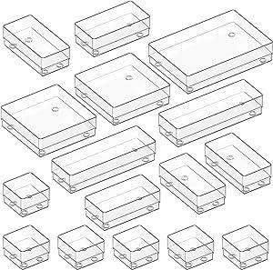 Kootek Modular Desk Drawer Organizer Bins with Different Sizes Drawer Dividers 16 Organizers Bins Customize Layout Storage Box for Bedroom Dresser Bathroom Kitchen Office