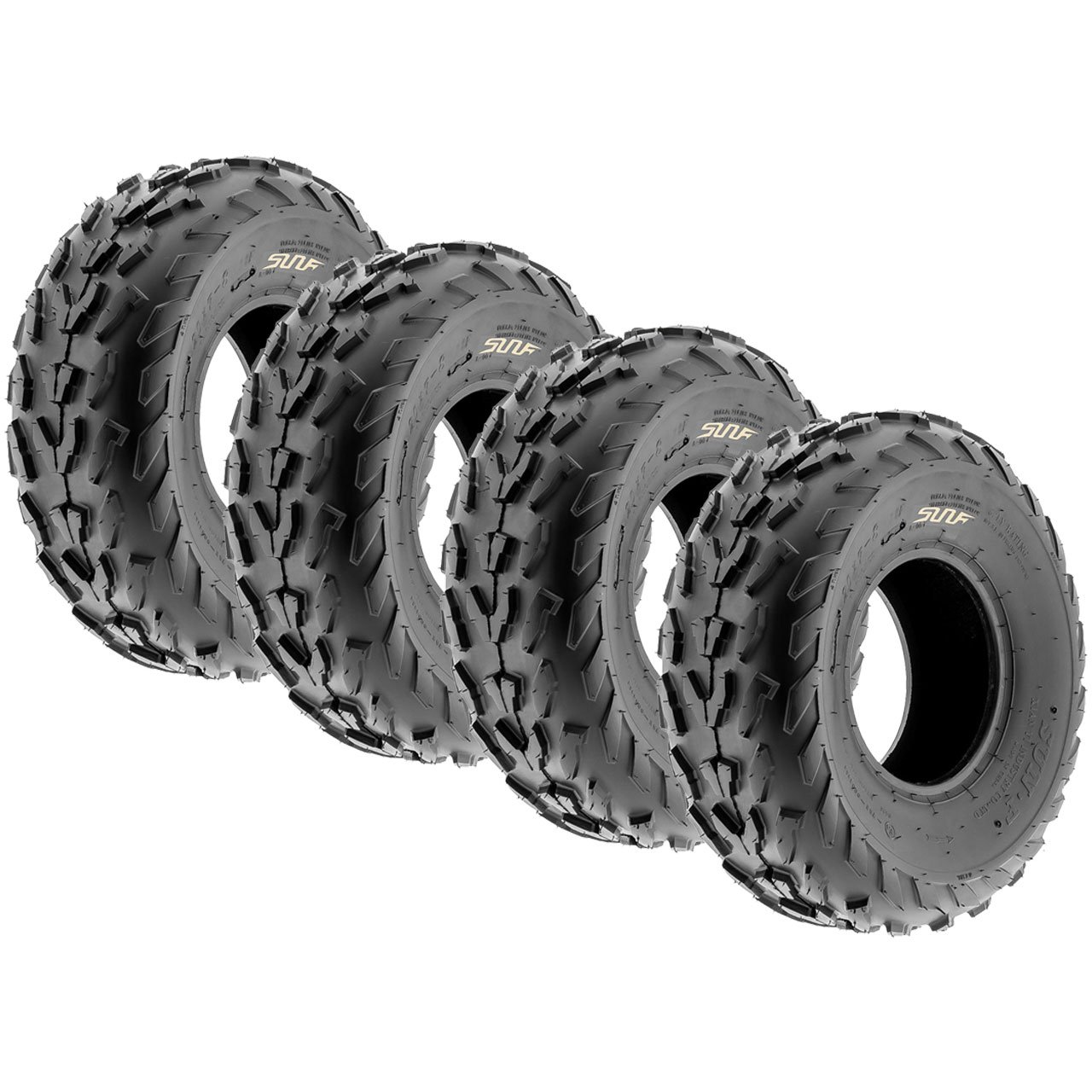 Set of 4 SunF A007 ATV Go-Kart Sport Tires 18x7-7 Front & 18x7-7 Rear, 4 PR, Directional Knobby Tread