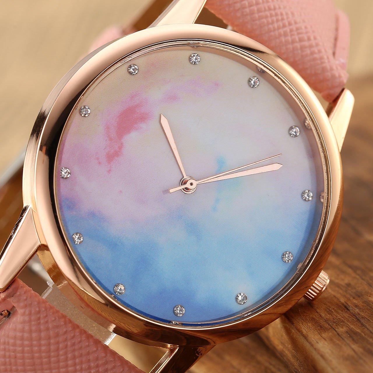 JSDDE Uhren,Fashion Cute Candy Farbe Damen Armbanduhr Sternenhimmel Farbverlauf Kleid Uhren PU Lederband Quarz Uhr,Pink