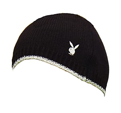 3f42a0387da Playboy Black Silver Knitted Beanie Hat  Amazon.co.uk  Clothing