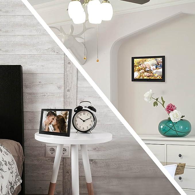 Marco Fotos Digital y Video de 12 Pulgadas, Portaretrato Electronico Pantalla LCD de Alta Resolución Poner Fotos y Músicas Juntamente, Un Buen Regalo ...