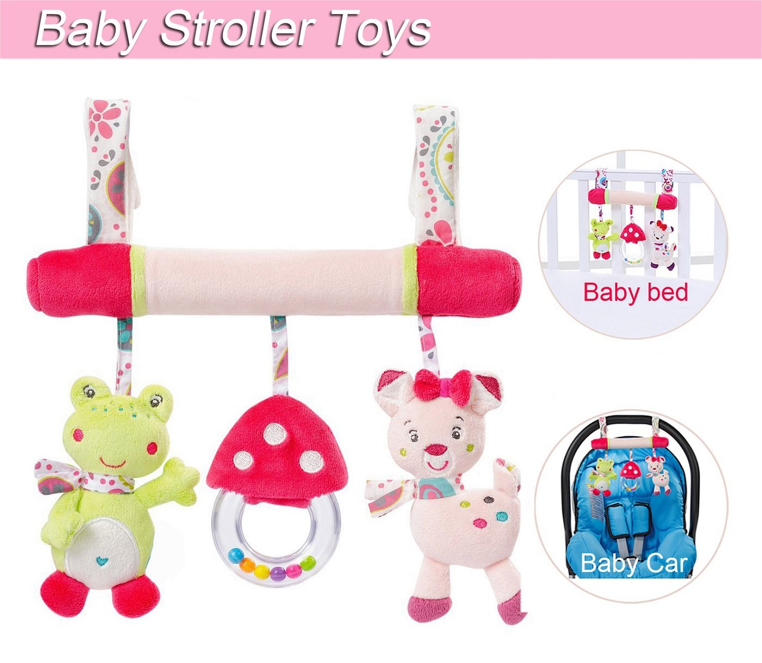 Baby Stroller Toys, Infant Hanging Toys, Newborn Baby Car Bed Pram Crib Stroller Cute Cat Frog Squeak Leedemore