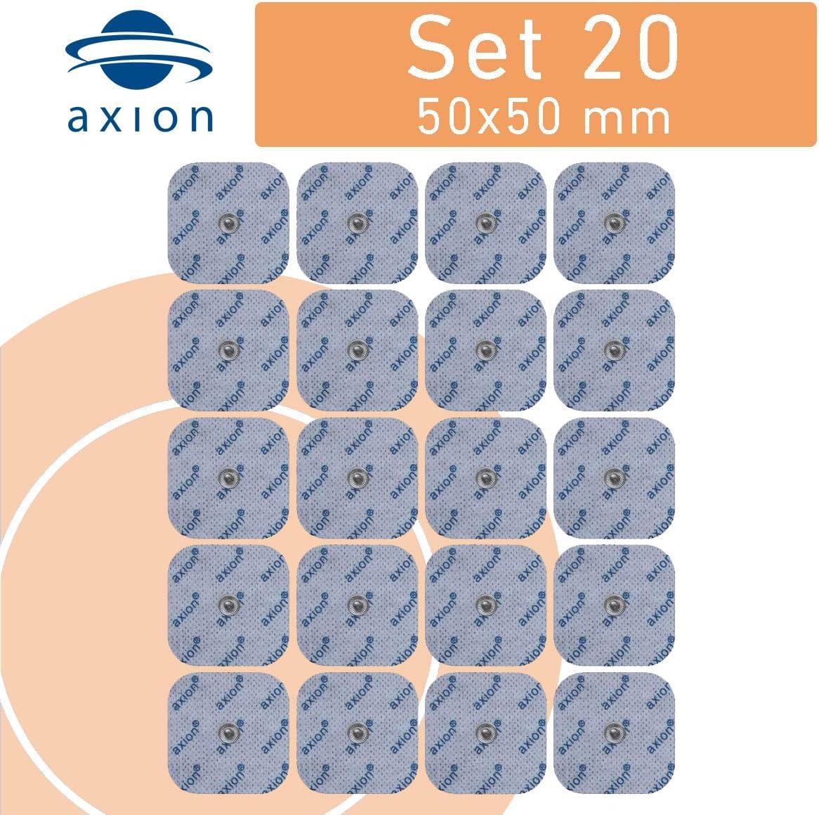 20 Electrodos de 5x5 cm - para su aparato TENS EMS electroestimulador VITALCONTROL & Beurer - axion