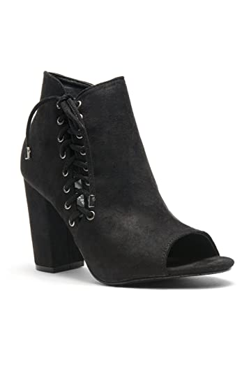 Women's Snoorrii - lace up toe peep chunky heeled booties