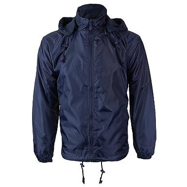 1ffdc8922 Renegade Men's Reversible Water Resistant Polar Fleece Lined Hooded Rain  Jacket (Small, Navy)