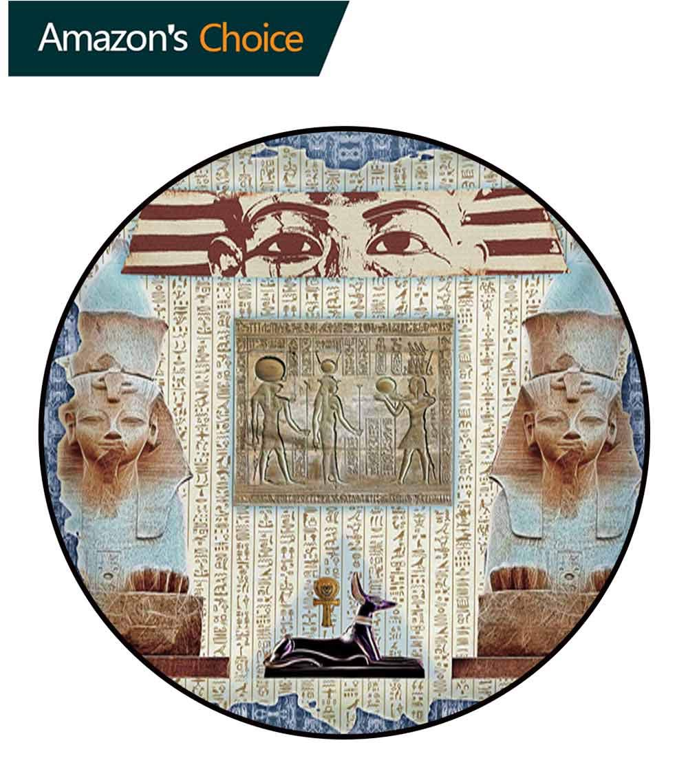 RUGSMAT Egypt Modern Washable Round Bath Mat,Traditional Hieroglyph Backdrop with Mummy Pyramids and Bastet Collage Art Print Non-Slip Bathroom Soft Floor Mat Home Decor,Round-59 Inch