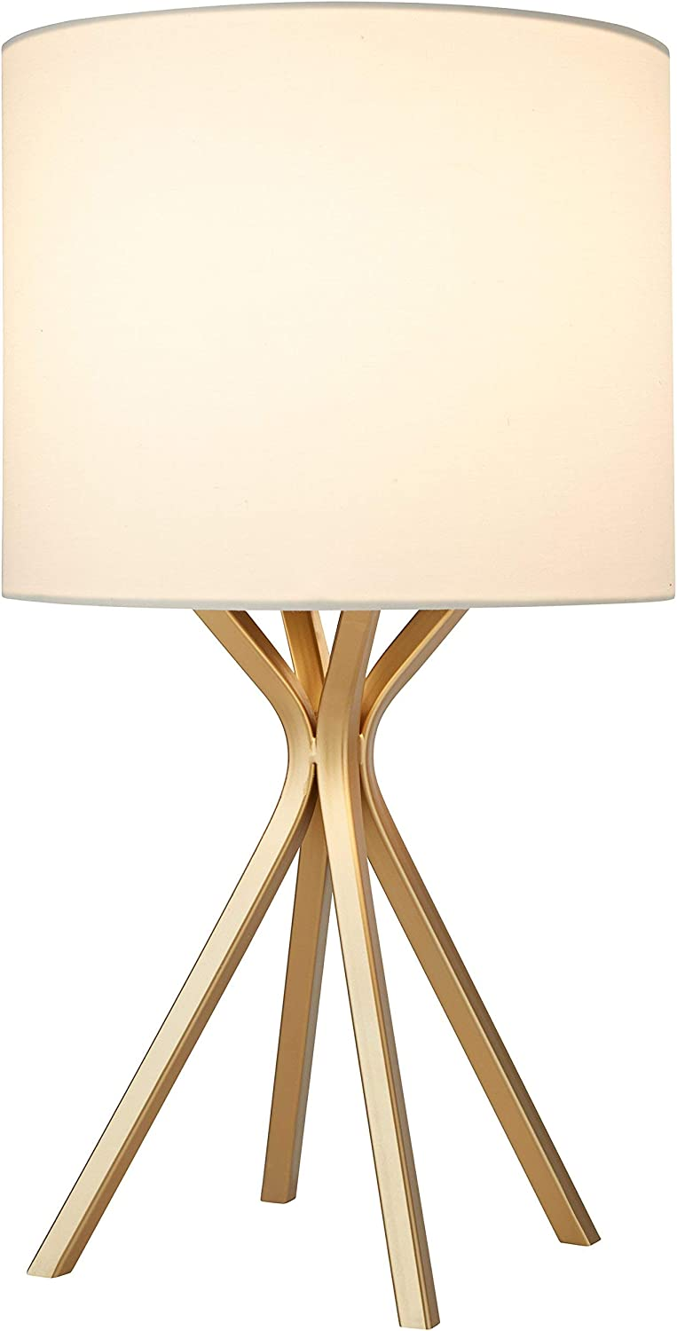Amazon Brand Rivet Gold Bedside Table Desk Lamp With Light Bulb 18 Inches Linen Shade
