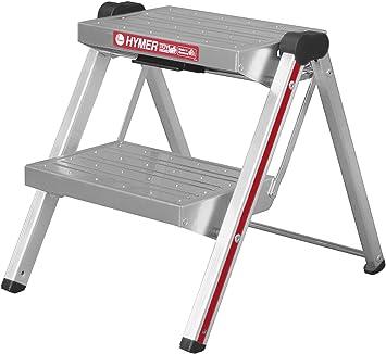 Hymer 603002 - Escabel plegable (aluminio, 2 peldaños a cada lado): Amazon.es: Bricolaje y herramientas