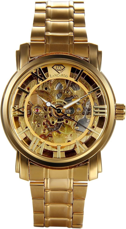 Lancardo - Reloj mecánico automático de pulsera para hombre, esfera con números romanos, caja perforada, impermeable, para negocios o aspecto informal, color oro