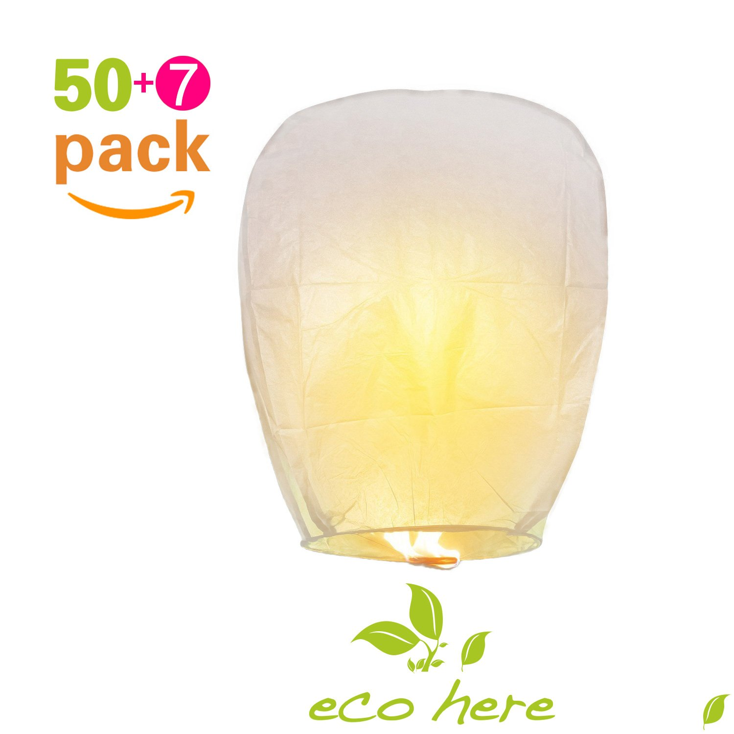 Chinese Lanterns, Paper Wishing Lanterns, Eco Friendly Lanterns, with Wax Block for Lighting, Ideal for Wedding, Birthday, Christmas, Parties and More (50PCS, White) - Sky Lanterns