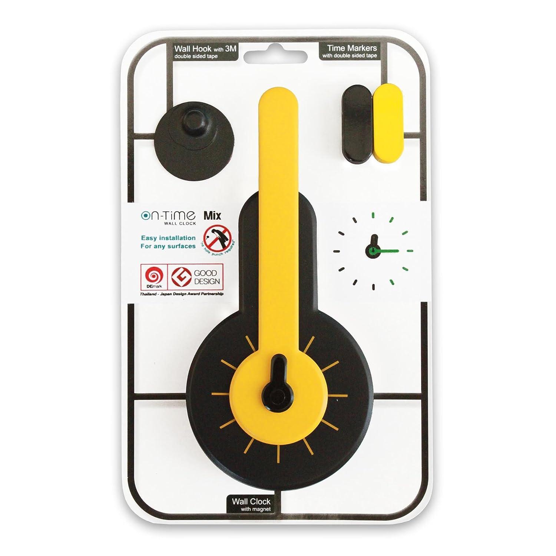 Amazon.com: OnTime onmixye Wall Clock Adhesive, Black Yellow: Kitchen & Dining