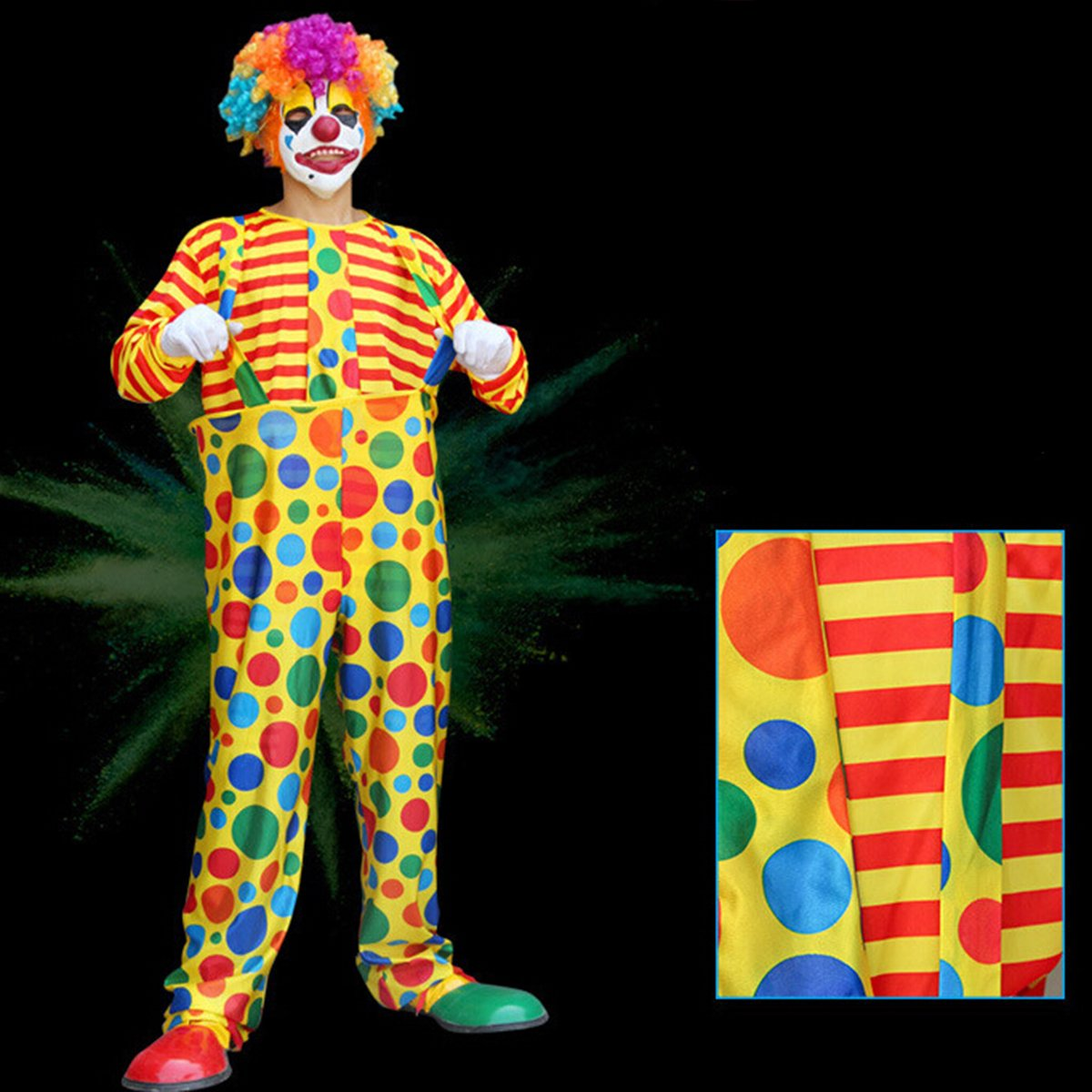 Amazon.com: LUOEM Carnival Clown Costume Halloween Masquerade Adult Clown Outfit Suit For Men Party - Size 5XL: Clothing