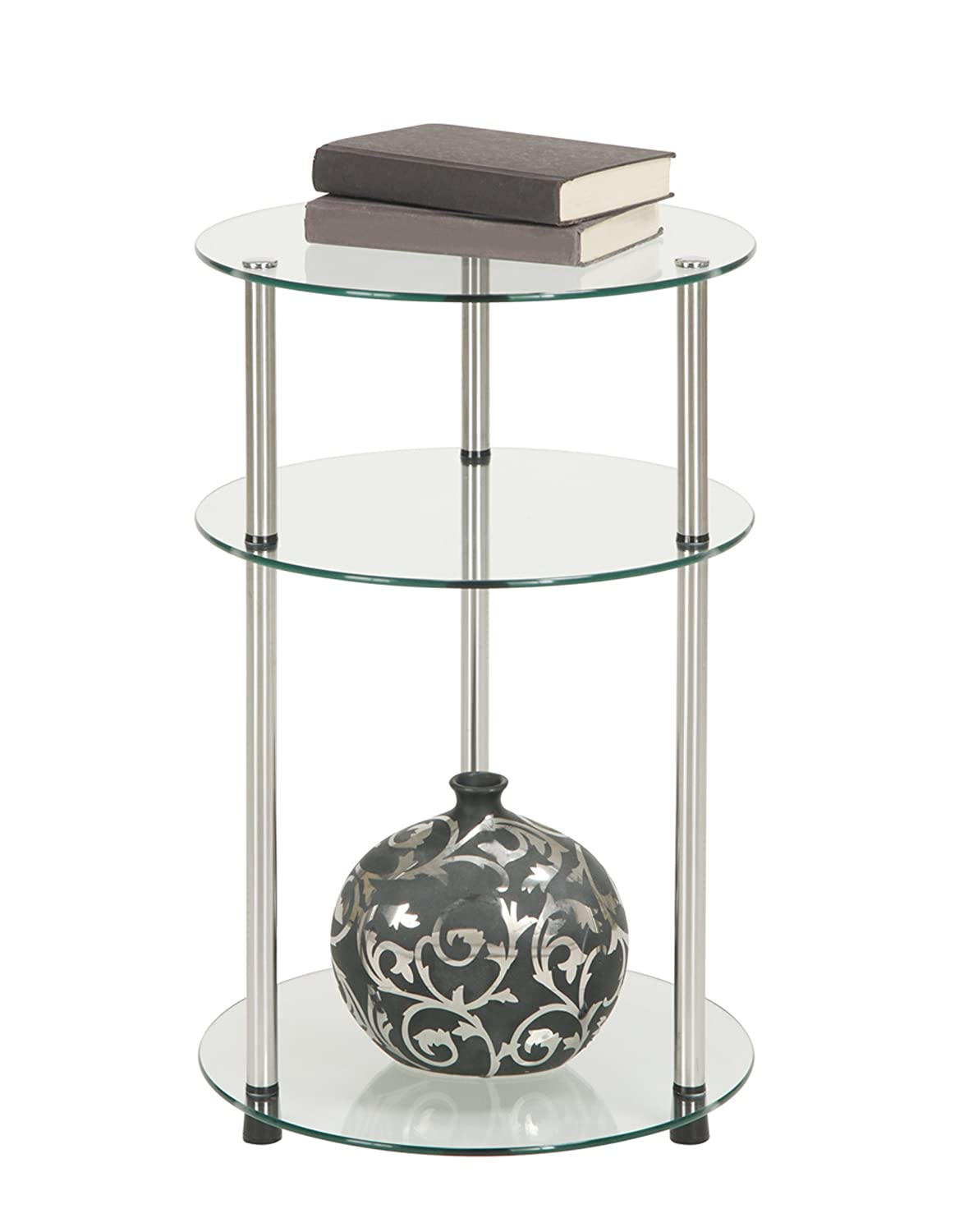 Amazon.com: Convenience Concepts Designs2Go Go Accsense 3 Tier Round Glass  Side Table, Clear Glass: Kitchen U0026 Dining