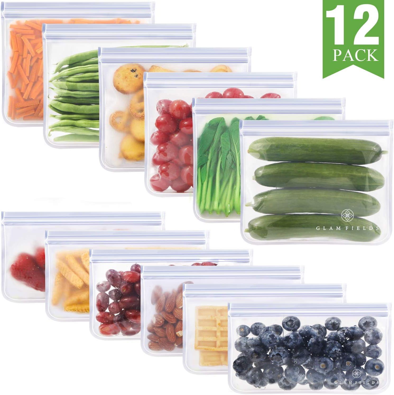3PCS Reusable Food Storage Bags Zip Top Leakproof Container PEVA Freezer Bag