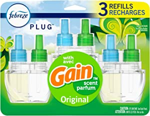 Febreze Plug in Air Freshener and Odor Eliminator, Scented Oil Refill, Gain Original Scent, 3 Count