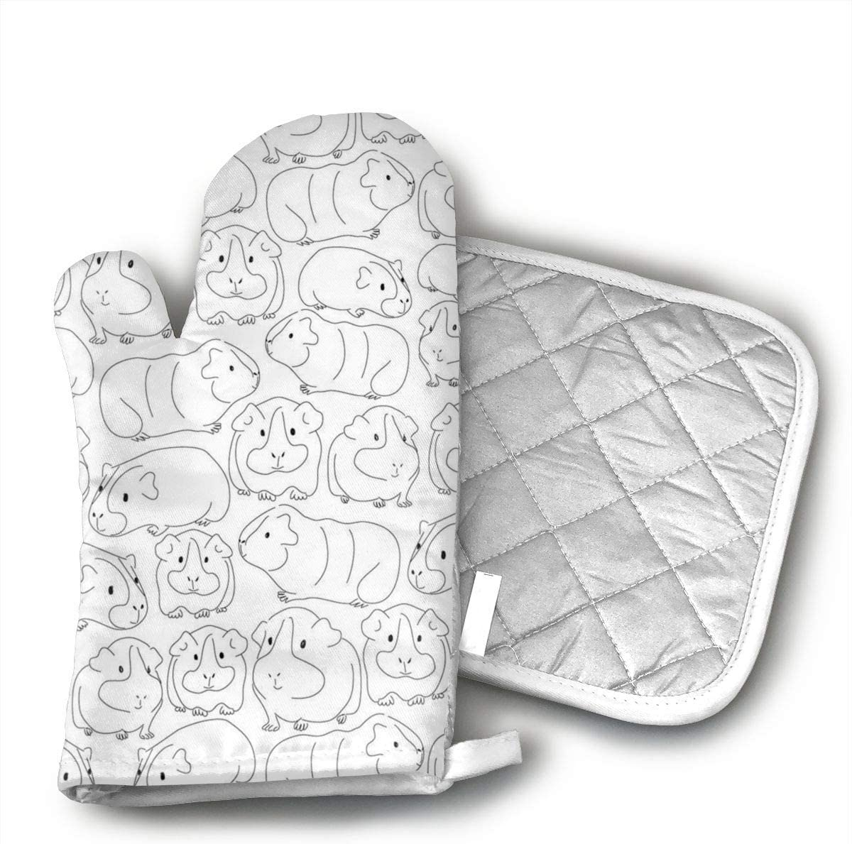 Teuwia Sketchy Guinea Pigs Oven Mitts and Pot Holders Baking Oven Gloves Hot Pads Set Heat Resistant for Finger Hand Wrist Protection