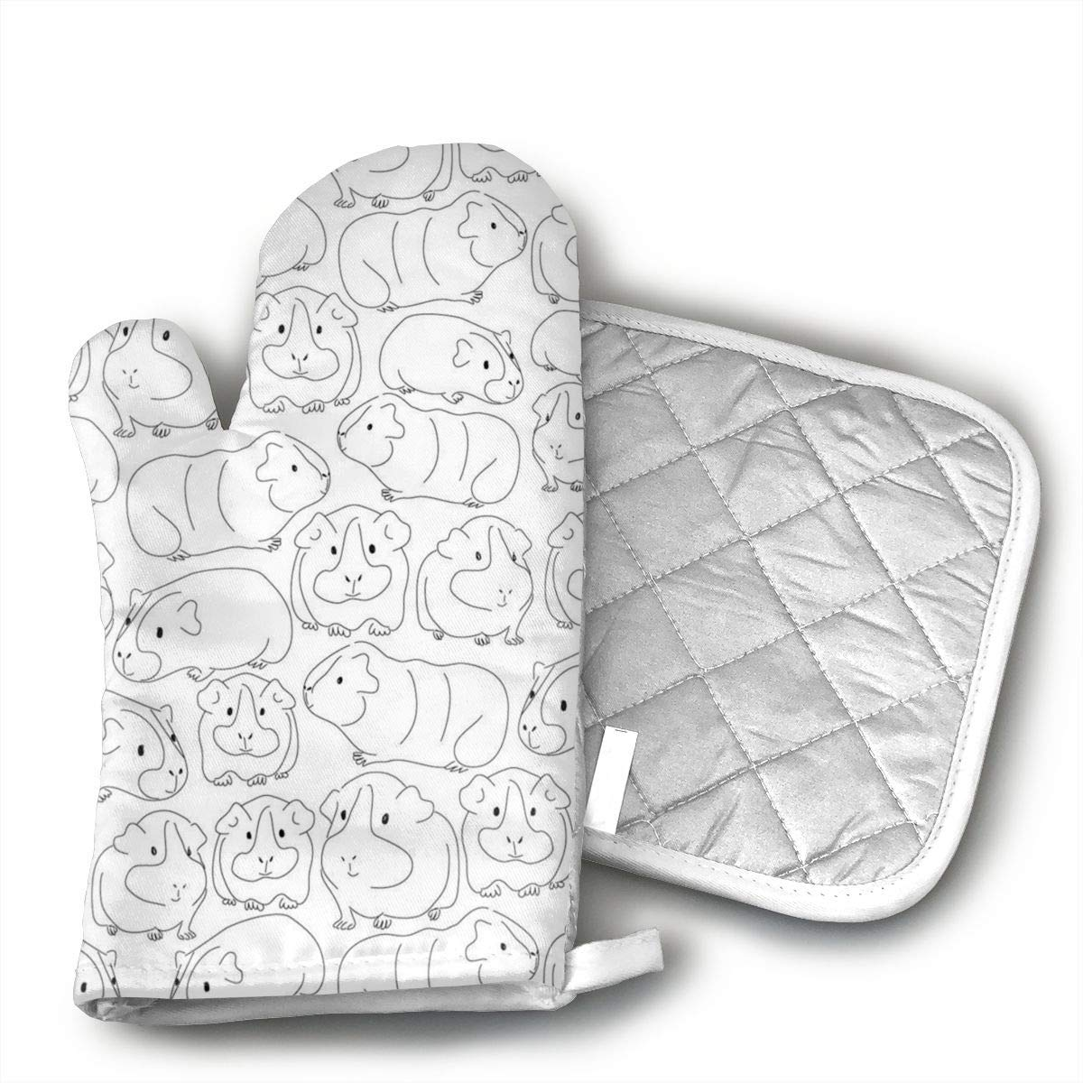 Jiqnajn6 Sketchy Guinea Pigs Oven Mitts,Heat Resistant Oven Gloves, Safe Cooking Baking, Grilling, Barbecue, Machine Washable,Pot Holders.