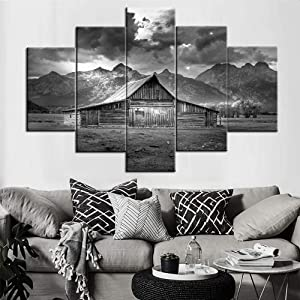 Painting on Canvas Grand Teton National Park Mormon Row Prints on Paintings USA Landscape Pictures,Wall Art 5 PCS Cabin Artwork Home Decor for Living Room Giclee Framed Ready to Hang(60''Wx40''H)