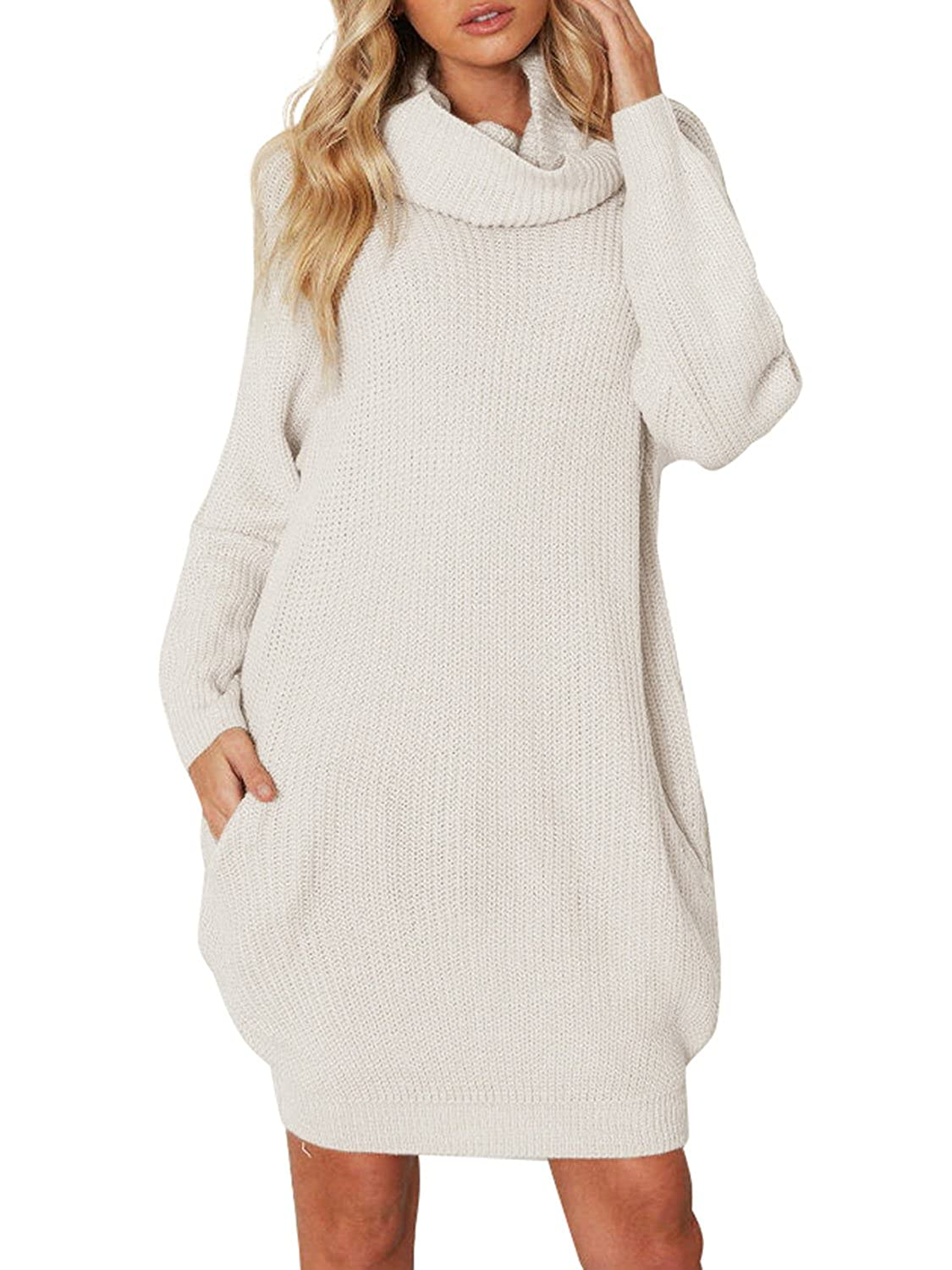 Sanifer Women Oversized Loose Knited Long Turtleneck Sweater Dress ...