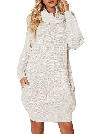 Simplee Apparel Damen Winter Kleid Elegant Lose Langarm Oversize Rollkragen Strickkleid  Knielang Kleid mit Taschen Beige  Amazon.de  Bekleidung 4f039abbb9