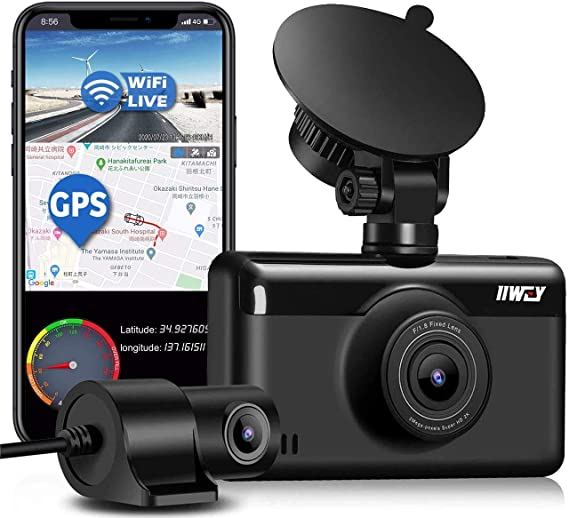 Amazon Com Dual Dash Cam 1440p 1080p Built In Gps Wifi Front And Rear Camera For Cars With 3 Inch Touch Screen Driving Recorder With Sony Sensor Night Vision Motion Detection 24h