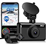 Dual Dash Cam 1440P&1080P Built-in WiFi GPS, 2.5K Front and Rear Dash Camera with 3 Inch HD Touch Screen, Car Camera for…