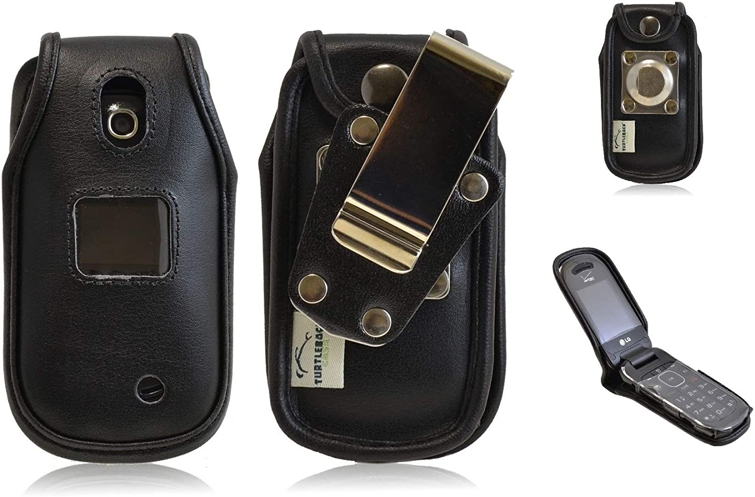 LG Revere 3 VN170 Flip Phone for Rugged Heavy Duty Leather Fitted Cover Case W/Metal Clip