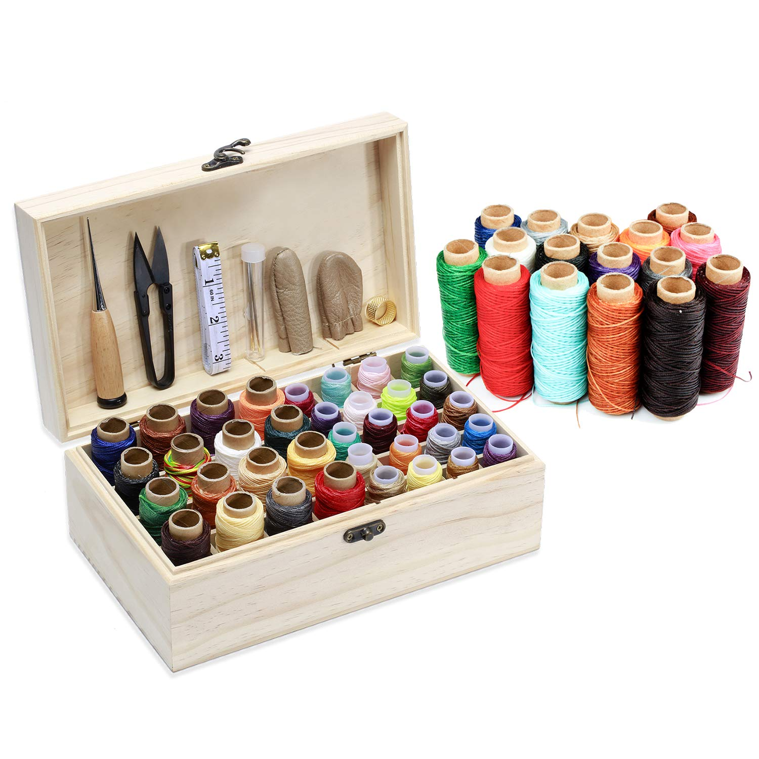 Mayboos 36 Colors Leather Waxed Thread, Leather Sewing Thread in a Wooden Box Leather Needle and Thread 52Pcs Leather Craft Hand Tools Kit for DIY Bookbinding Crafts and Sewing Supplies