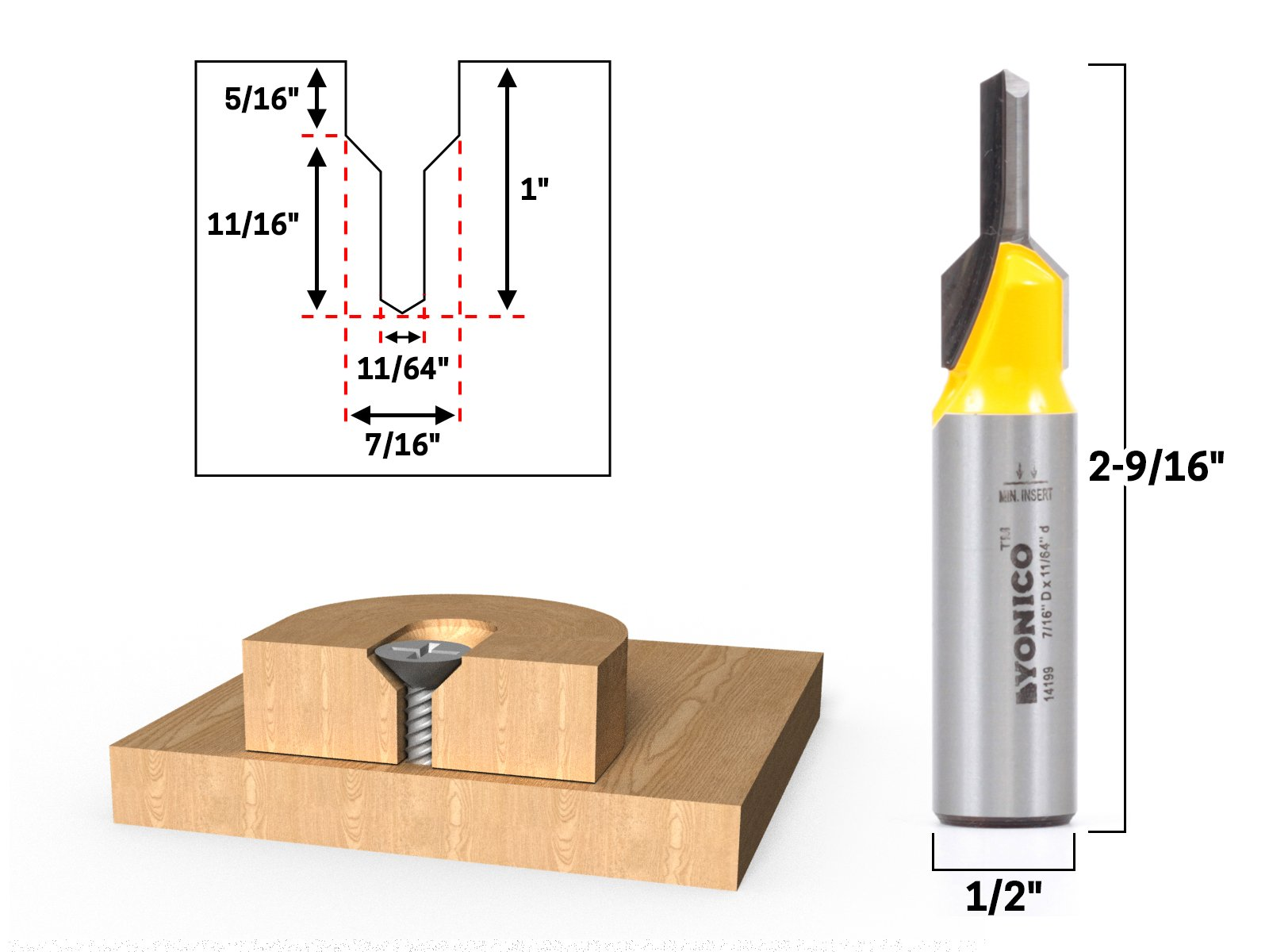 Yonico 14199 Counter Sink & Screw Slot Router Bit 1/2-Inch Shank