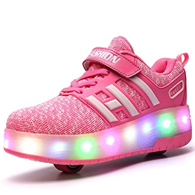 Unisex Kids Replaceable Battery Light Roller Skate Shoes Double Wheeled Sneaker for Boys Girls