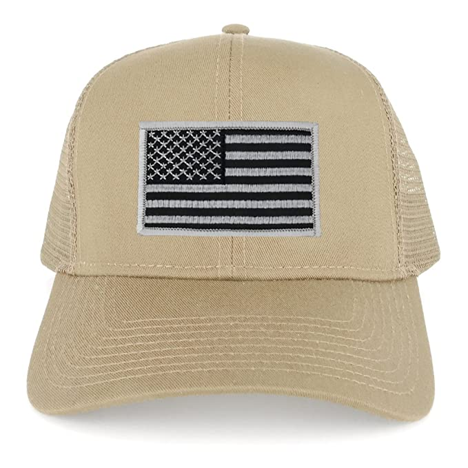 8f505b8396b75 USA American Flag Embroidered Patch Snapback Mesh Trucker Cap - KHAKI - BLACK  GREY