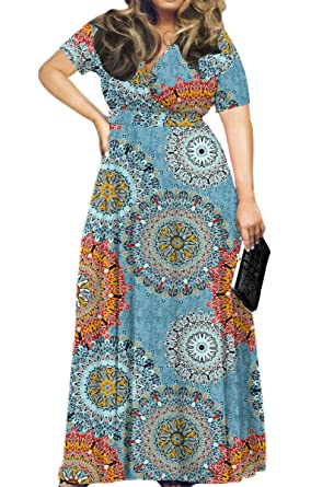 f341fe8a2b HWOKEFEIYU Women's Short Sleeve Loose Plain Maxi Dresses Casual Long Dresses(Floral  Multiple Blue,