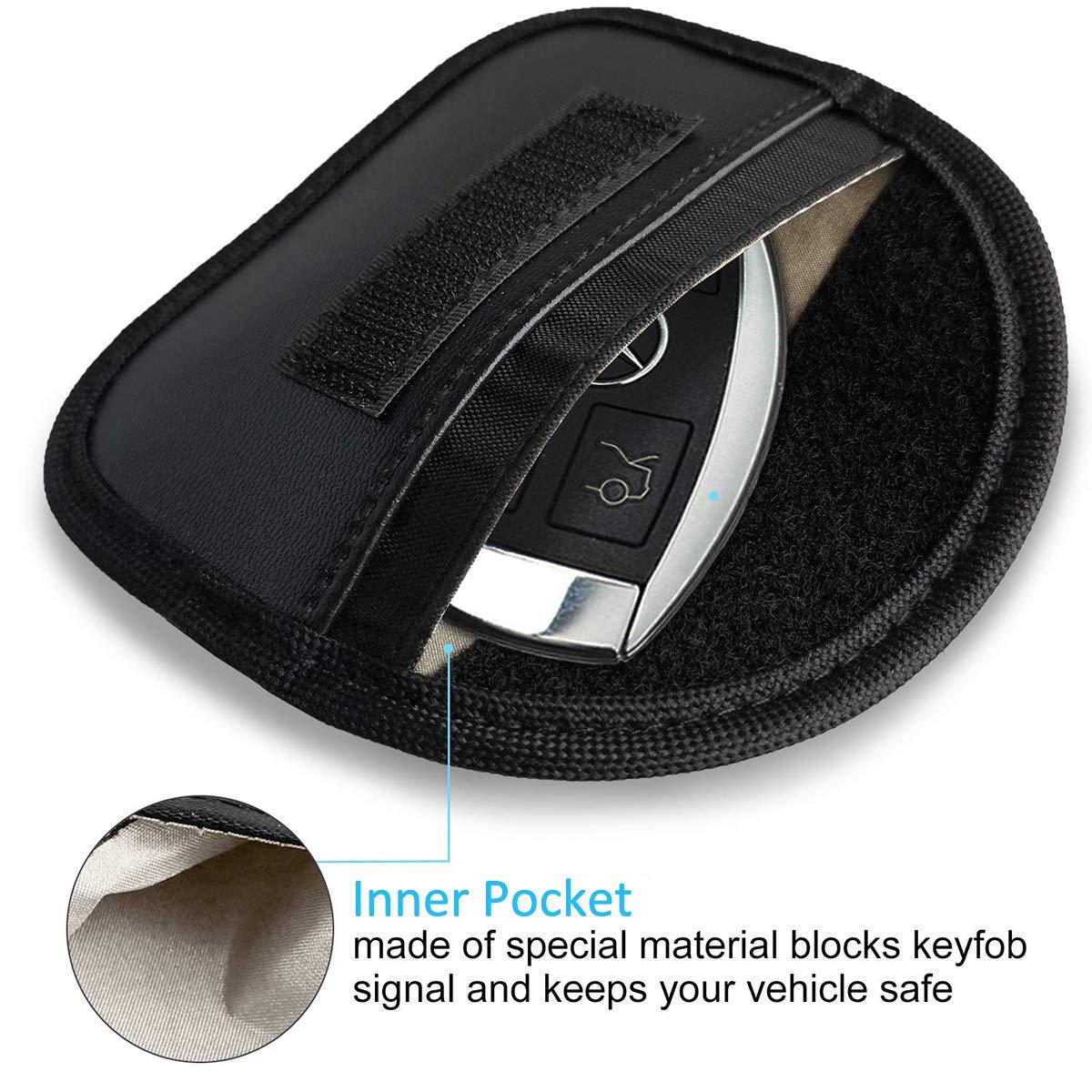 Anti-Theft Pouch Black Premium Faraday Cage Car Key Protector Mini Faraday Bag for Key Fob RFID Signal Blocking Anti-Hacking Case Blocker 2 Pack