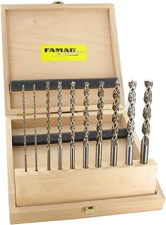 D=3,4,5,6,7,8,9,10,11,12mm FAMAG Holzspiralbohrer Satz HSS-G lang 10-teilig