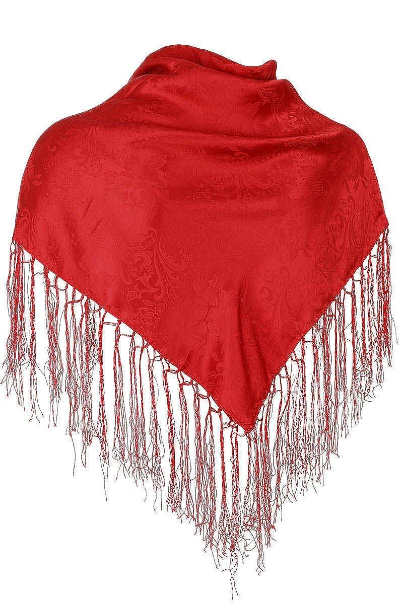 Striessnig Damen Trachten-Dreiecktuch Seide mit Fransen rot, 018 rot, unisize SEIDENTUCH UNI FRANSEN