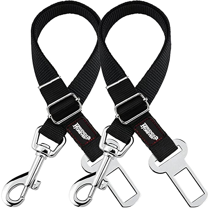 Amazon Com Friends Forever Dog Seat Belt Adjustable 2 Pack Black