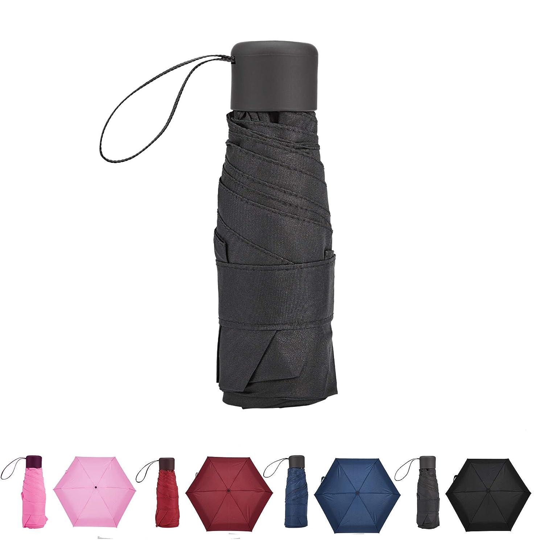 Bleu Fonc/é Atuka Mini Compact Parapluie Pliant Ultra L/éger Parapluie de Poche de Voyage pour Femme Homme Enfant
