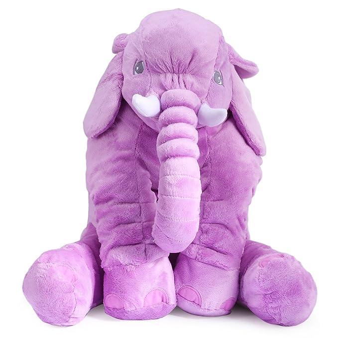 Almohada Cojín Lindo de Simulación Elefante Gigantes Juguete del Peluche con Manta del Regalo de Navidad Cumpleaños Fiestas para Bebés Niños (Púrpura ...