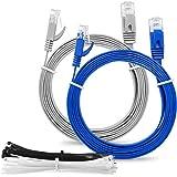 """Multicavo SLIM FLAT 1m Cat6 RJ45 cavo Patch Rete Ethernet Lan -""""Confezione da 2"""" grigio e blu - 1 metro + 15 fascette"""